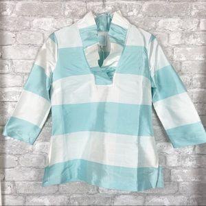Devon Baer Blue Stripe 100% Silk Ruffle Tunic Top